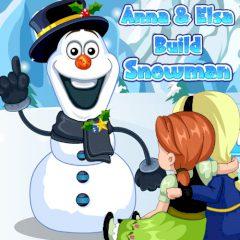 Anna & Elsa Build Snowman